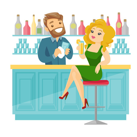 Caucasian white woman sitting at the bar counter and bartender wiping a glass. Young woman relaxing in the bar with a glass of alcohol drink. Vector cartoon illustration isolated on white background. Illustration