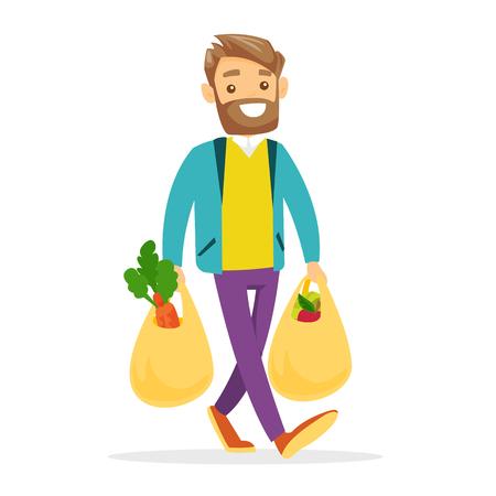 Junger kaukasischer weißer Mann, der mit Plastikeinkaufstaschen mit gesundem Gemüse und Früchten geht. Vektorgrafik