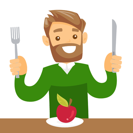 Uomo bianco caucasico seduto al tavolo con forchetta e coltello e si prepara a tagliare una mela. Concetto di alimentazione sana. Illustrazione del fumetto di vettore isolata su fondo bianco. Pianta quadrata.