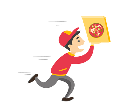 Young caucasian white pizza delivery boy running with cardboard box with pizza. Concept of food delivery and fast food. Vector cartoon illustration isolated on white background. Square layout. Illustration