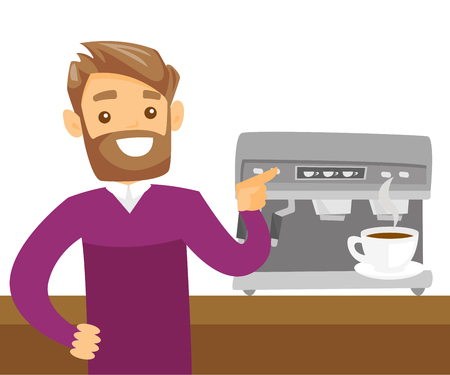 Young Caucasian white man making coffee with a coffee-machine.