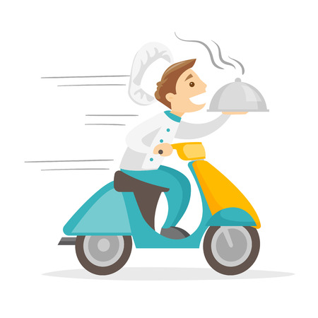 Caucasian white man delivering dish on a scooter. Worker of delivery service driving a motorbike and delivering dish. Concept of food delivery. Vector cartoon illustration isolated on white background.