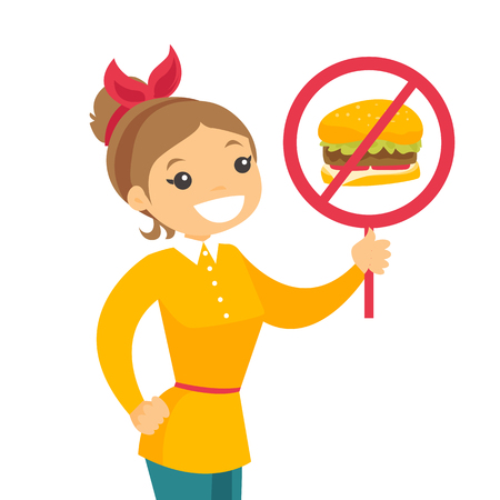 Young caucasian white woman holding placard with no fast food sign. Smiling woman protesting against fast food. Unhealthy nutrition concept. Vector cartoon illustration isolated on white background.