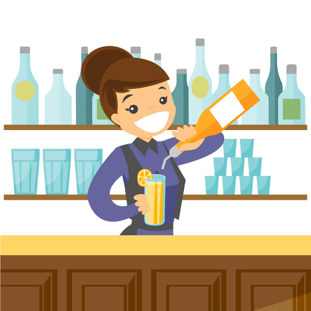 Young caucasian white female bartender standing at the bar counter and making a cocktail with help of the bar equipment. Vector cartoon illustration isolated on white background. Square layout.