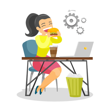 Young Caucasian white business woman sitting at the workplace with laptop and eating hamburger. Illustration