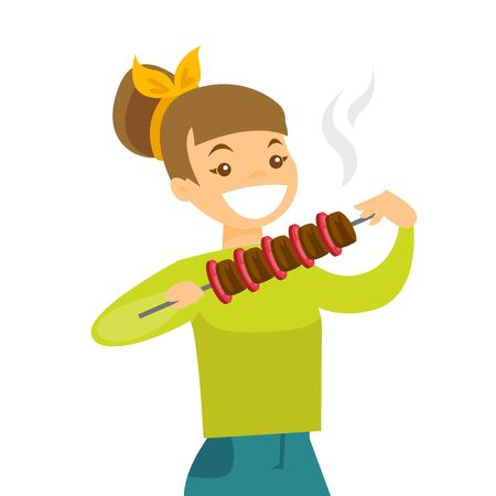Young cheerful caucasian white woman eating shashlik with vegetables and meat on skewer. Happy woman with shish kebab in hands. Vector cartoon illustration isolated on white background. Square layout.