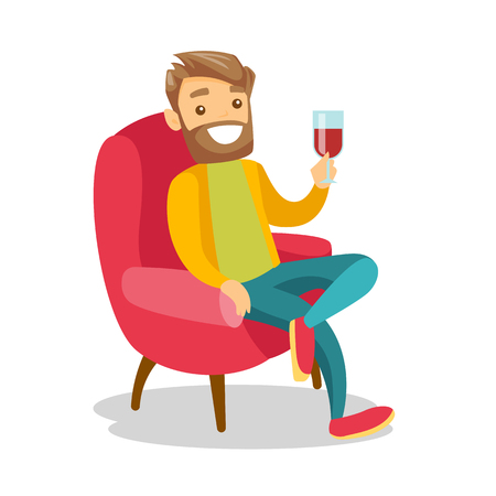 Young caucasian white man sitting in the chair with a glass of wine. Cheerful hipster man with beard drinking red wine. Vector cartoon illustration isolated on white background. Square layout. Illustration