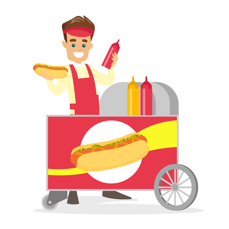 Young Caucasian white street seller dressed in an apron standing with hot dog cart. Stock Illustratie