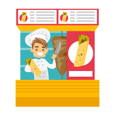 Young happy Caucasian white chef preparing shawarma in a street kiosk. Illustration