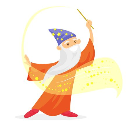 Old caucasian white magician in a hat and a long cape waving magic wand. Wizard with long white beard holding a magic wand. Vector cartoon illustration isolated on white background. Square layout. Illustration