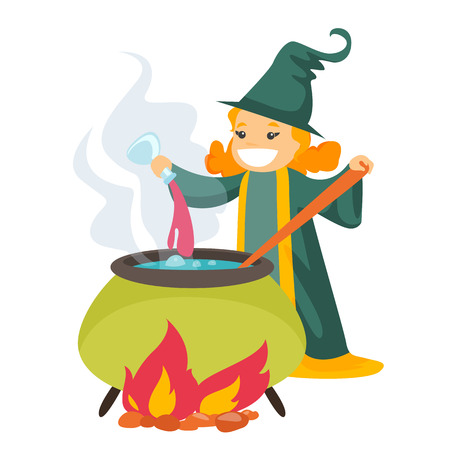 Young Caucasian white witch cooking the potion in the boiler.