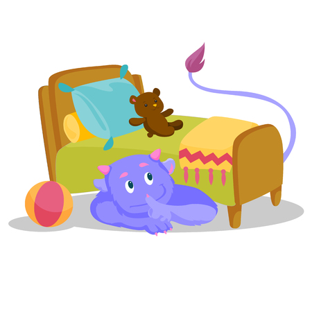 Cute purple monster with tail hiding under the bed and putting finger up to his lips.