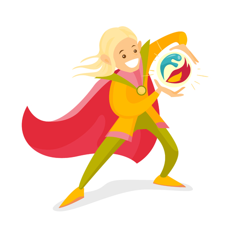 Young cheerful blonde elf in red cape having magic power to create ball from fire and water. Fantasy and fairytale concept. Vector cartoon illustration isolated on white background. Square layout. Illustration
