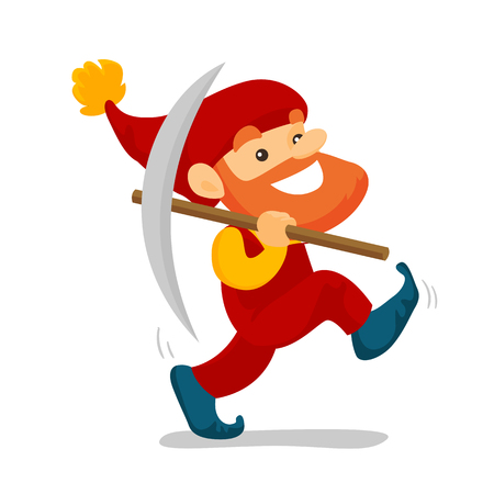 Cute senior dwarf in a red overall and hat walking with a pickaxe. Happy dwarf miner with beard holding a mattock. Vector cartoon illustration isolated on white background. Square layout.