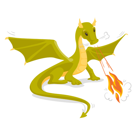 Green magical dragon with wings blowing fire. Fantasy and fairy tale concept.