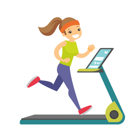 Young Caucasian white woman running on treadmill.