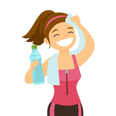 Young Caucasian white sporty woman drinking water and wiping sweat with a towel after workout.
