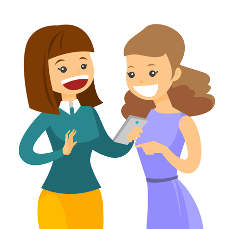 Young caucasian white woman showing something to her friend on smartphone. Two female friends looking at cellphone and laughing. Vector cartoon illustration isolated on white background. Square layout