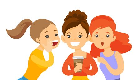 Young caucasian white woman shielding her mouth and whispering a gossip to her friends. Three women discussing gossips. Vector cartoon illustration isolated on white background. Horizontal layout.