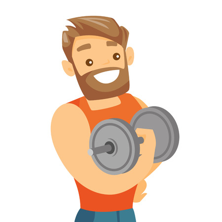 Young caucasian white strong bodybuilder doing exercises with a heavy weight dumbbell. Muscular sportsman pumping up biceps. Vector cartoon illustration isolated on white background. Square layout.