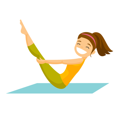 Young Caucasian white sportswoman doing fitness exercises on a gym mat. Illustration