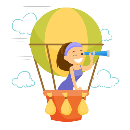 Young caucasian white woman flying in a hot air balloon and looking through a spyglass. Woman traveling in hot air balloon. Vector cartoon illustration isolated on white background. Square layout.
