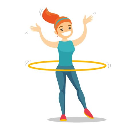 Young Caucasian white sportswoman doing fitness exercises with hula hoop. Illustration