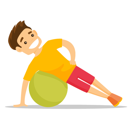 Young caucasian white man doing exercises with a fitball. Glad sportsman holding side plank exercise on a fitball. Healthy lifestyle concept. Vector cartoon illustration isolated on white background.