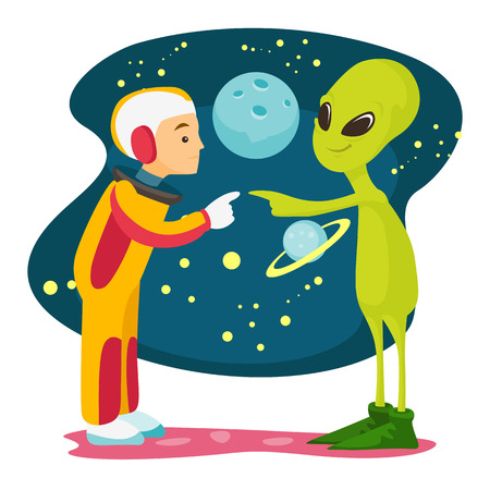 Caucasian white space exploration astronaut and green alien meet for the first time. Vectores
