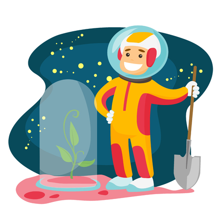 Young caucasian white astronaut planting a tree on a new planet. Cosmonaut with a shovel standing near newly planted tree under the hood. Vector cartoon illustration isolated on white background.