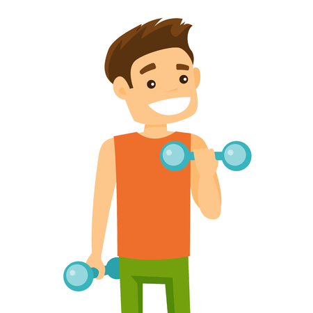Young Caucasian white strong sportsman doing exercise with a dumbbell.