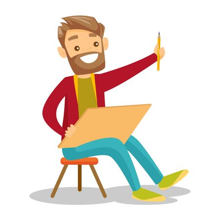 Young caucasian white man painting a picture on canvas. Hipster artist with beard working on a picture with a pencil. Vector cartoon illustration isolated on white background. Square layout. Illustration