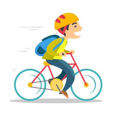 Young caucasian white teenage boy with backpack riding a bicycle to school. Teenager in helmet riding a bike. Healthy lifestyle concept. Vector cartoon illustration isolated on white background. Illustration