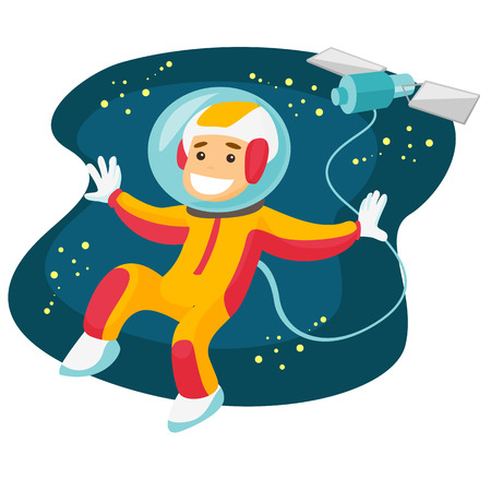 Young caucasian white space exploration astronaut in spacesuit flying in open cosmos on the background of satellite and stars. Vector cartoon illustration isolated on white background. Square layout.