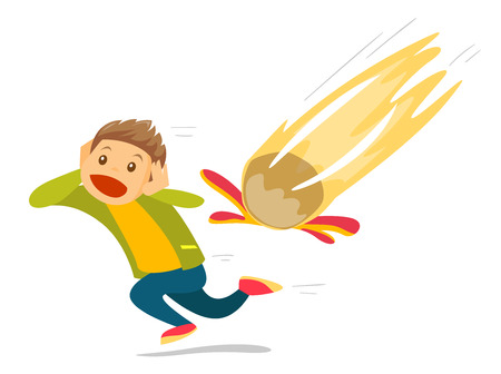 Young caucasian white scared man running from falling meteorite. Man trying to escape a burning meteorite. Space danger concept. Vector cartoon illustration isolated on white background. Square layout Vettoriali