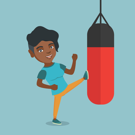 African-american boxer woman exercising with a boxing bag. Kickbox fighter hitting a heavy bag during training. Young boxer training with a punch bag. Vector cartoon illustration. Square layout.