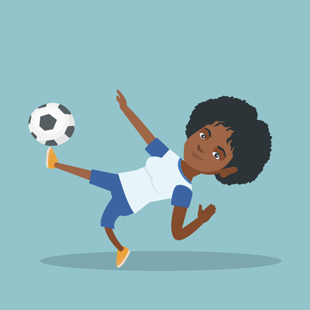Young african-american soccer player kicking a ball. Soccer player juggling with a ball. Sportswoman playing soccer. Sport and leisure concept. Vector cartoon illustration. Square layout. Illustration
