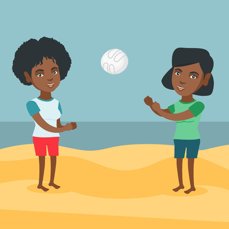Two young african-american women having fun while playing beach volleyball during summer holiday. Woman playing beach volleyball with her friend. Vector cartoon illustration. Square layout. Illustration
