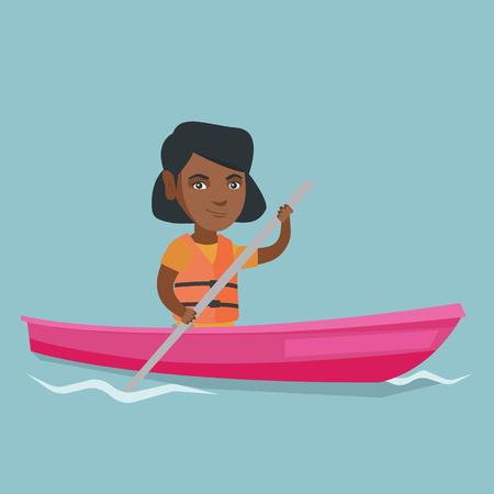 Mujer joven viajero afroamericano que viaja en kayak. Deportista montando un kayak en el río. Mujer viajera remando una canoa. Concepto de deporte y turismo. Vector ilustración de dibujos animados Diseño cuadrado. Ilustración de vector