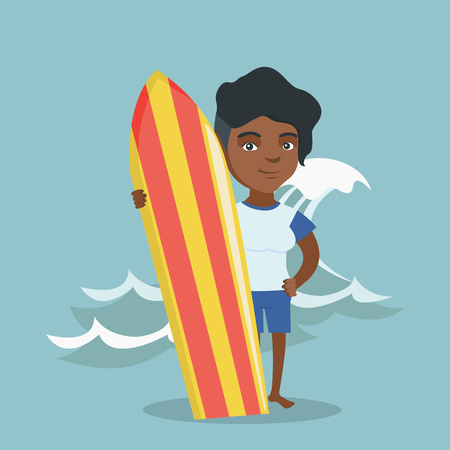 African-american woman standing with a surf board on the beach. Full length of young surfer holding a surf board on the background of sea wave. Vector cartoon illustration. Square layout.