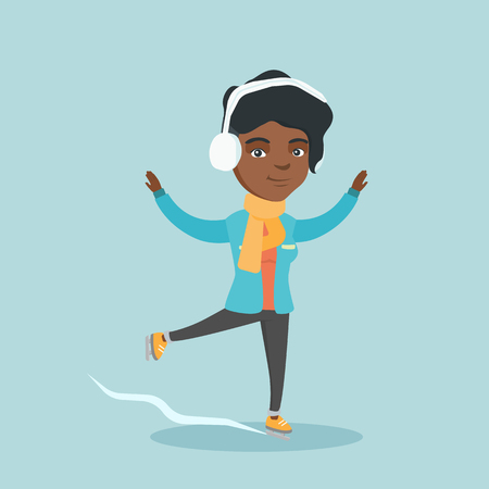 Young happy african-american woman ice skating outdoors. Excited woman posing at a skating rink. Concept of winter leisure activities. Vector cartoon illustration. Square layout.