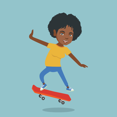 Young african-american woman riding a skateboard. Happy woman skateboarding. Cheerful woman jumping with a skateboard. Sport and healthy lifestyle concept. Vector cartoon illustration. Square layout.