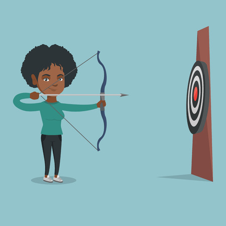 Young african-american sportswoman aiming with a bow and arrow at the target. Concentrated sportswoman shooting an arrow during an archery competition. Vector cartoon illustration. Square layout.