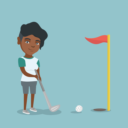 Young african-american golfer directing a ball into a golf hole with a red flag. Professional golfer playing golf. Sport and leisure concept. Vector cartoon illustration. Square layout.