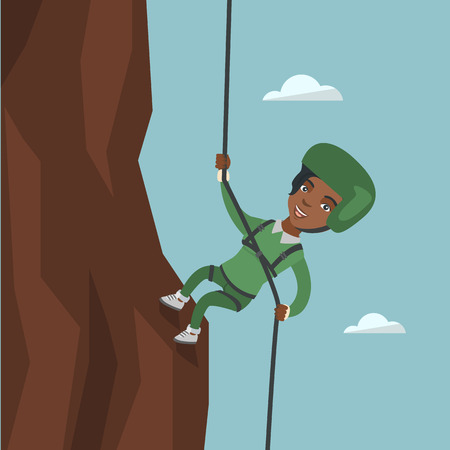 Young african-american climber in a protective helmet climbing a mountain. Smiling woman climbing a mountain with a rope. Sport and leisure activity concept. Vector cartoon illustration. Square layout 向量圖像