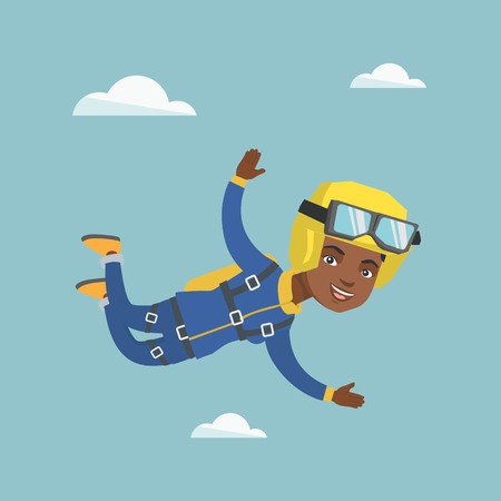 African-american parachutist jumping with a parachute. Professional parachutist falling through the air. Happy young woman flying with a parachute in sky. Vector cartoon illustration. Square layout. Stock Vector - 96030012