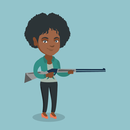 Young african-american woman shooting skeet with a shotgun. Full length of female hunter ready to hunt with a hunting rifle. Vector cartoon illustration. Square layout.