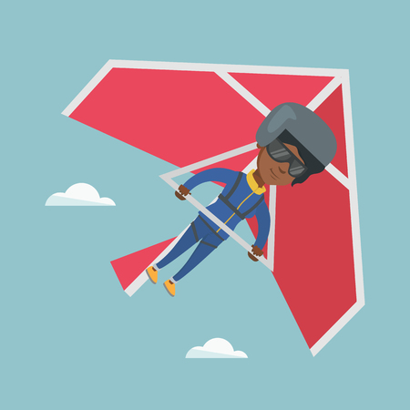 Young african-american woman flying on hang-glider. Sportswoman taking part in hang gliding competition. Woman having fun while gliding on deltaplane in sky. Vector cartoon illustration. Square layout Иллюстрация