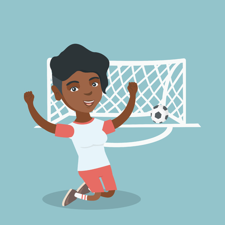 Happy african-american soccer player celebrating a goal. Young football player kneeling with raised arms on the background of football gate with ball in it. Vector cartoon illustration. Square layout. Stock Illustratie