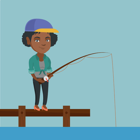 Young african-american woman relaxing during fishing on jetty. Cheerful fisherwoman fishing on lake. Angler standing on the jetty with fishing-rod in hands. Vector cartoon illustration. Square layout.